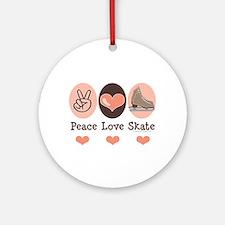 Peace Love Skate Ice Skating Ornament (Round)