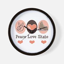Peace Love Skate Ice Skating Wall Clock