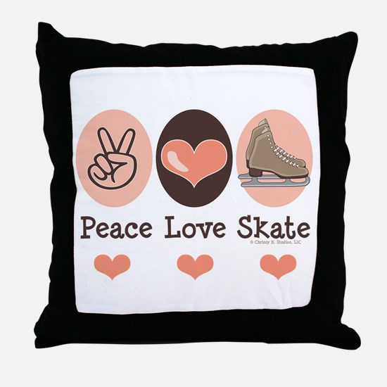 Peace Love Skate Ice Skating Throw Pillow