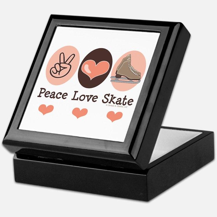 Peace Love Skate Ice Skating Keepsake Box