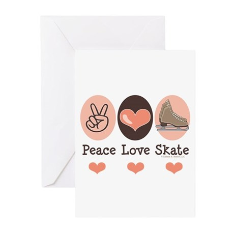 Peace Love Skate Ice Skating Greeting Cards 20 Pk