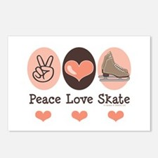 Peace Love Skate Ice Skating Postcards 8 Pack
