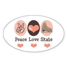 Peace Love Skate Ice Skating Oval Bumper Stickers