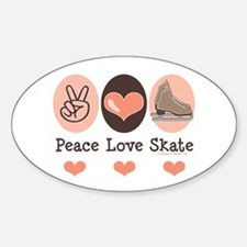 Peace Love Skate Ice Skating Oval Decal