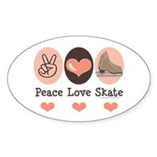 Peace Love Skate Ice Skating Oval Stickers