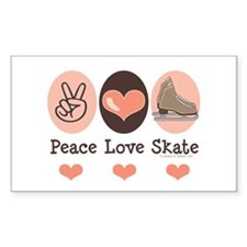 Peace Love Skate Ice Skating Rectangle Decal