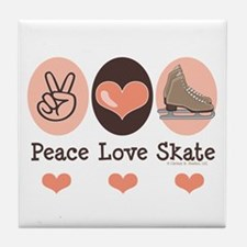 Peace Love Skate Ice Skating Tile Coaster