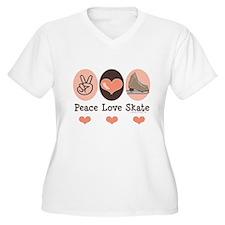 Peace Love Skate Ice Skating Plus Size V-Neck Tee