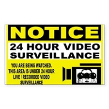 24 Hour Surveillance Rectangle Decal