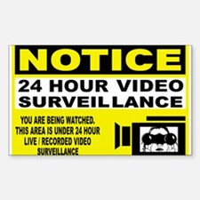 24 Hour Surveillance Rectangle Decal