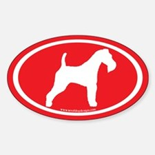 Red Wire Fox Terrier Oval Decal