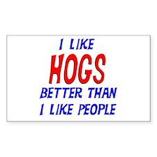 I Like Hogs Rectangle Decal