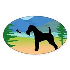 Wild River Wire Fox Terrier Oval Decal