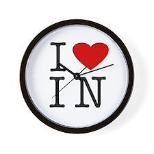 I Love Indiana (IN) Wall Clock