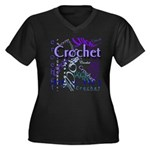 Crochet Purple Women's Plus Size V-Neck Dark T-Shi