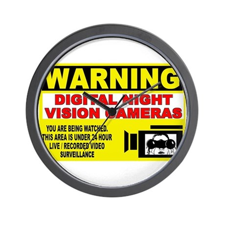 Warning Night Vision Wall Clock