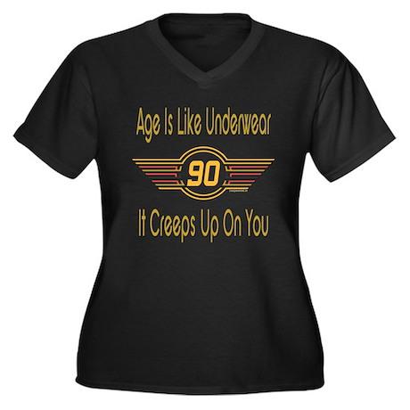 Funny 90th Birthday Women's Plus Size V-Neck Dark