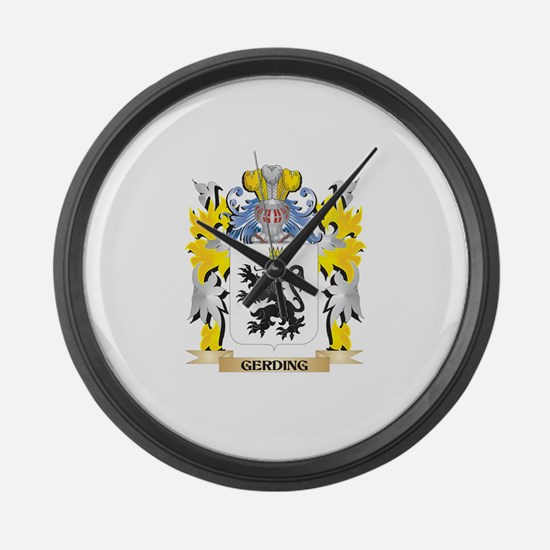 Gerding Coat of Arms - Family Cre Large Wall Clock