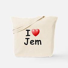 I Love Jem (Black) Tote Bag