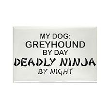 Greyhound Deadly Ninja Rectangle Magnet