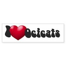 """""""I Love Ocicats!"""" Bumper Bumper Sticker"""
