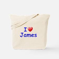 I Love James (Blue) Tote Bag