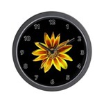 Yellow Daisy on Black Wall Clock