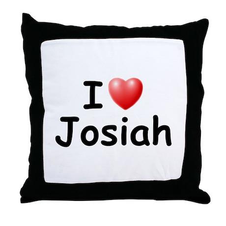 I Love Josiah (Black) Throw Pillow