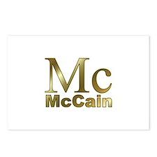 Gold Mc for John McCain Postcards (Package of 8)