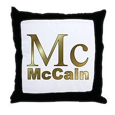 Gold Mc for John McCain Throw Pillow