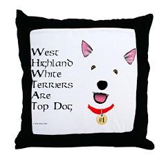 Westie Top Dog Throw Pillow