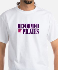 """""""Reformed by Pilates"""" White T (purple text)"""