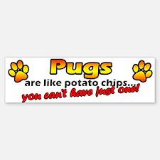 Potato Chips Pug Bumper Bumper Bumper Sticker