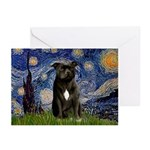 Starry-Am.Staffordshire (blk) Greeting Cards (Pk o