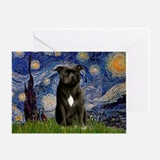 Starry-Am.Staffordshire (blk) Greeting Card
