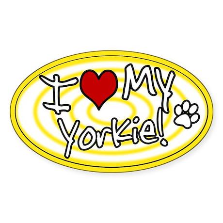 Hypno I Love My Yorkie Oval Sticker Ylw