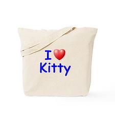 I Love Kitty (Blue) Tote Bag