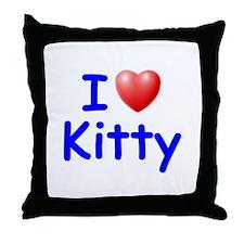 I Love Kitty (Blue) Throw Pillow