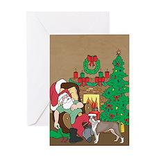 Santa Has A Boston Terrier Christmas Greeting Card