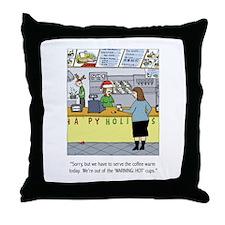 Warm Coffee Holiday Cartoon Throw Pillow