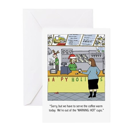 Warm Coffee Holiday Cartoon Greeting Cards (Pk of