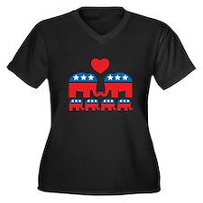 Republican Family Women's Plus Size V-Neck Dark T-