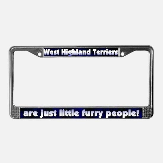 Furry People Westie License Plate Frame