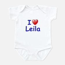 I Love Leila (Blue) Infant Bodysuit