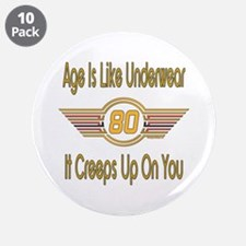 "Funny 80th Birthday 3.5"" Button (10 pack)"