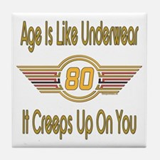 Funny 80th Birthday Tile Coaster