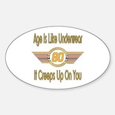Funny 80th Birthday Oval Decal