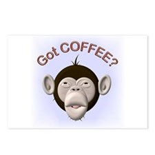 Got Coffee? Monkey Postcards (Package of 8)