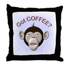 Got Coffee? Monkey Throw Pillow
