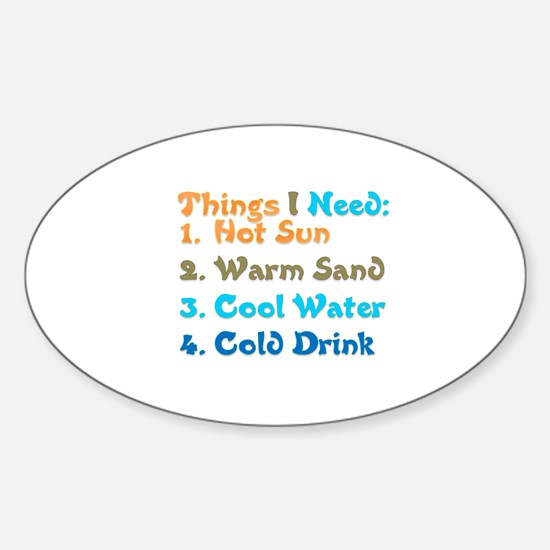 Things I Need Oval Decal